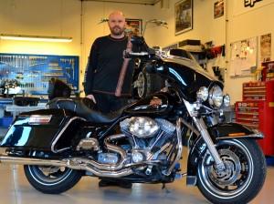 Ejer af JT Motorsport -Jepser Thiel,  med en Harley Davidson