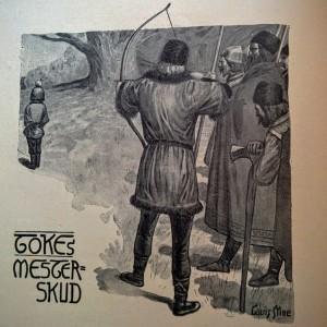Billede af Palnatoke der skyder æblet af hovedet på sin søn. Illustration fra Saxo Grammaticus