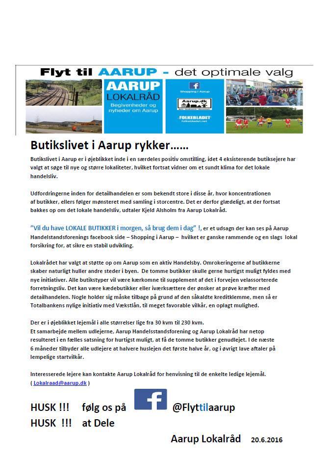 Aarup lokalraad pressemeddelelse 19 juni