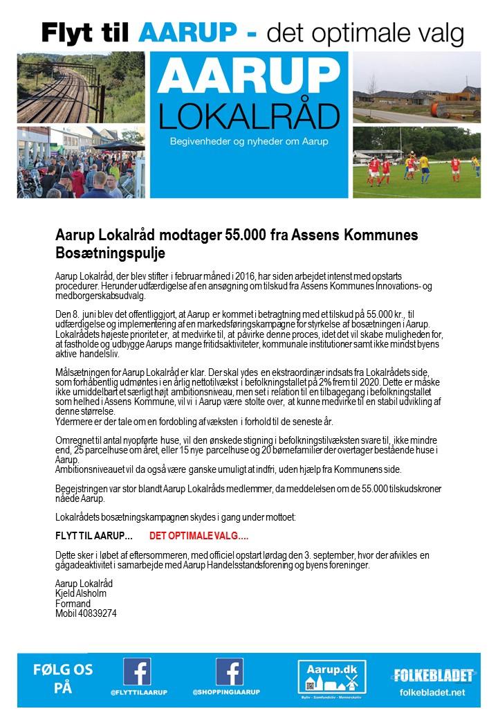 Aarup lokalraad pressemeddelelse 9 juni